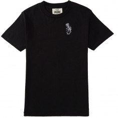 Sausage Rose Hand Chest Embroidery T-Shirt - White/Black