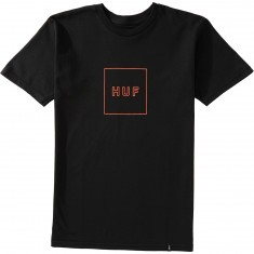 Huf Outline Box Logo T-Shirt - Black/Orange