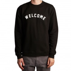 Welcome Academic Midweight Crew Fleece Sweatshirt - Black/White