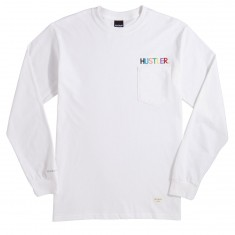 40s And Shorties X Hustler Logo Long Sleeve Pocket T-Shirt - White