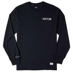 40s And Shorties X Hustler Logo Long Sleeve Pocket T-Shirt - Black