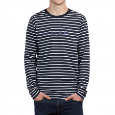 Welcome Scrawl Embroidered Long Sleeve Shirt - Navy/White
