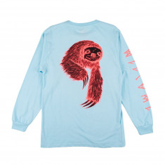 Welcome Sloth Long Sleeve T-Shirt - Light Blue/Coral