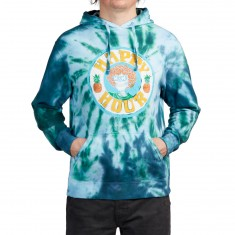 Happy Hour Skull And Roses Hoodie - Teal Tie Dye