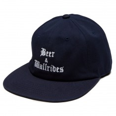 Beer And Wallrides 6 Panel Logo Hat - Navy