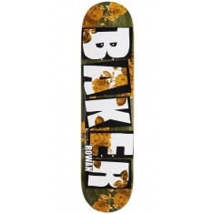 "Baker Rowan Brand Name Rose Gold Skateboard Deck - 7.75"" - Green Stain"