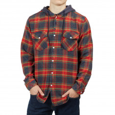 Imperial Motion Greenwhich Hooded Flannel Shirt - Red/Navy