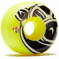 Pig Head Conical Skateboard Wheels - Yellow - 51mm