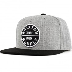 Brixton Oath III Snapback Hat - Light Heather Grey/Black