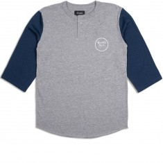 Brixton Wheeler 3/4 Sleeve Henley T-Shirt - Heather Grey/Navy