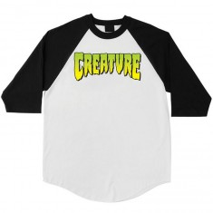 Creature Logo 3/4 Sleeve Raglan  T-Shirt - White/Black