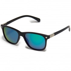 Glassy Biebel Polarized Sunglasses - Matte Black/Green Mirror