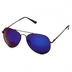 Glassy Daewon Sunglasses - Black/Blue Mirror