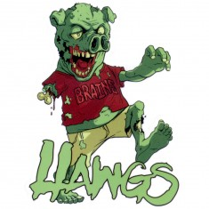 Hawgs Pig Zombie Brains Sticker