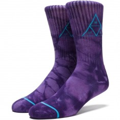 Huf Triple Tie Dye Crew Socks - Purple