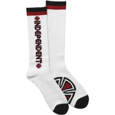 Independent Bar/Cross Tall Crew Socks - White