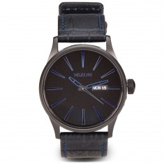Nixon Sentry Leather Watch - Navy Gator