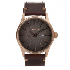 Nixon Sentry Leather Watch - Rose Gold / Gunmetal / Brown