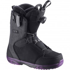 Salomon Ivy Boa STR8JKT Womens Snowboard Boots - Black/Purple/Black