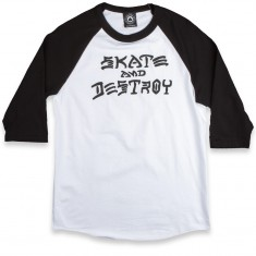 Thrasher Skate and Destroy Raglan T-Shirt - White/Black