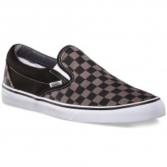 Vans Classic Slip-On Checkerboard Shoes - Black/Pewter