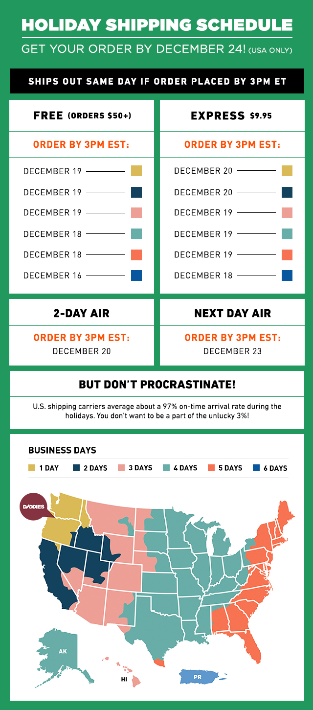 Holiday Shipping Schedule