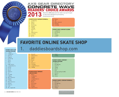 Daddies Board Shop 2013 Number 1 Online Skate Shop