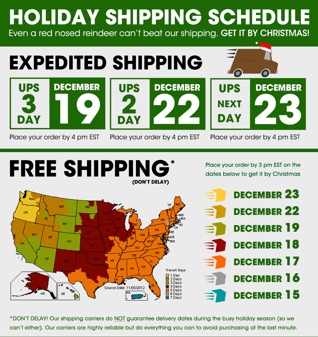Daddies Holiday Shipping Schedule