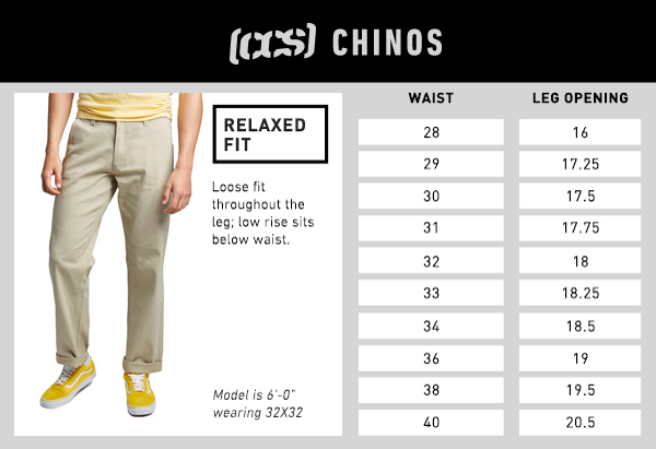 CCS Chino Relaxed Fit - Size Chart
