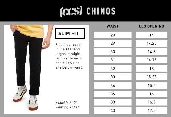 CCS Chino Slim Fit - Size Chart