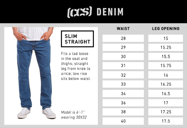 CCS Denim Slim Straight Fit - Size Chart